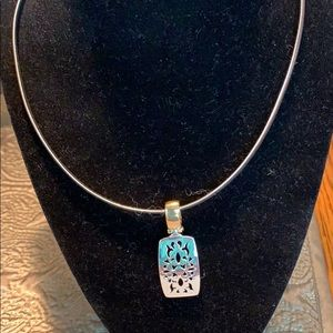 Silver Necklace With Silver & Gold Charm NWOT